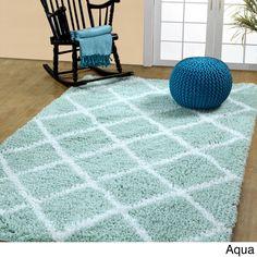 Soft and Cozy Trellis Shag Area Rugs by Affinity Home (5 'x 8') (Aqua), Blue, Size 5' x 8' (Cotton, Geometric)