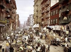 Mulberry Street, Little Italy, New York, primi del '900 #TuscanyAgriturismoGiratola