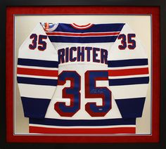 autographed nhl hockey jersey signed by mike richter and custom framed by art and frame