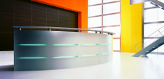 Emel Reception Desk with illumination and ribbed aluminium fascia