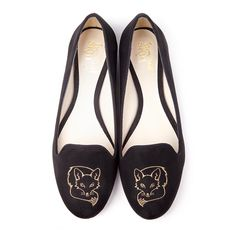 Beyond Skin Foxy black fox design embroidered vegan shoe made from synthetic faux suede 100% Vegan, vegetarian and cruelty-free.