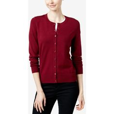 Charter Club Petite Cardigan, Long Sleeve Fine Gauge Sweater ($30) ❤ liked on Polyvore featuring tops, cardigans, cranberry, red cardigan, petite long sleeve tops, petite cardigans, charter club tops and red top