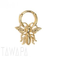 Gold Plated Bee Septum Ring Small Diameter
