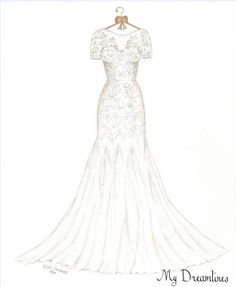 First Anniversary Gifts For Wife. Dreamlines wedding dress sketch is perfect for the one year anniversary gift, wedding day gift and Valentine's Day Gift.  Click here to view our portfolio.  http://www.mydreamlines.com/how-it-works/photo-gallery/