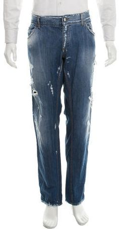 Dolce & Gabbana Distressed Tapered-Leg Jeans