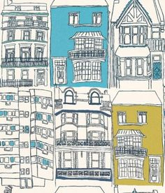 Brighton (70513) - Harlequin Wallpapers - New colourways for this delightful design - an interpretation of Brighton's regency townhouses – with a hand-drawn quality to the image. Fun and quirky. Shown in the blue and green.  Please ask for sample for true colour match.