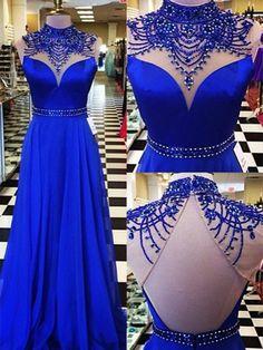 chicmall.de lieferungenNatural A-line Spring All-Season High Neck Sleeveless Floor-Length Blue Dress Lange Abendkleider