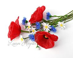 French Beaded Poppies, daisies, and cornflowers by Lauren Harpster