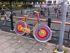 crocheted bike!  can i make a faux version of this by wrapping my bike in yarn? maybe securing with a little mod podge or something?