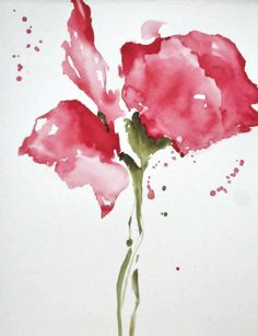 Floral Watercolor Painting Flower Print Red  by NancyKnightArt, $15.00