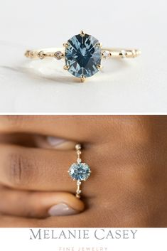 Moonstone engagement ring set yellow gold Diamond cluster ring Unique engagement ring vintage Curved wedding women Promise gift for her - Fine Jewelry Ideas A oval blue Montana sapphire in a yellow gold setting dotted with white diamonds along Morganite Engagement, Morganite Ring, Engagement Ring Settings, Vintage Engagement Rings, Diamond Engagement Rings, Engagement Rings Without Diamonds, Gothic Engagement Ring, Colored Engagement Rings, Engagement Gifts
