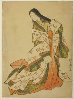 Ono no Komachi. Ukiyo-e woodblock print. About Japan, by artist Suzuki Harunobu. Art Occidental, Tamamo No Mae, Japanese Woodcut, Traditional Japanese Art, Japanese Illustration, Art Japonais, Japanese Painting, Art Institute Of Chicago, Japanese Prints