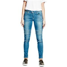 GUESS Veronique Biker Jeans ($49) ❤ liked on Polyvore featuring jeans, skinny biker jeans, destroyed jeans, ripped jeans, stretch skinny jeans and blue ripped jeans