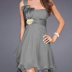 X81017 Sheath Column One Shoulder Short Mini Chiffon Bridesmaid Cocktail Dress | eBay  Also adorbs