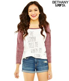 Long Sleeve Miss Me Graphic T♡ Bethany :)