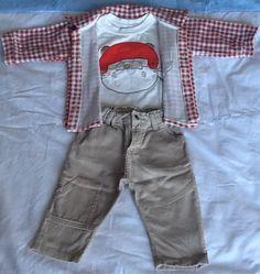 Conjunto com calça veludo cotele, t-shirt com aplique bordado e casaco em plush com bolso tam 4 a 6 meses... Muitooo fofo!!! Usado Lorenzo;)