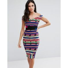 Vesper Off Shoulder Pencil Midi Dress In Contrast Stripe Print (€39) ❤ liked on Polyvore featuring dresses, multi, bodycon midi dress, off shoulder bodycon dress, off shoulder midi dress, off the shoulder bodycon dress and off shoulder dress