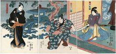 Kuniyoshi / Triptychon  Ichikawa Kuzo II,Nakamura Utaemon IV+Iwai Kumesaburo III