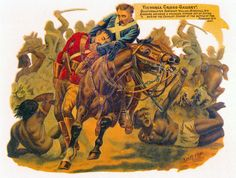 Quartermaster Sergeant William Marshall of the 19th Hussars winning the Victoria Cross at the Battle of El Teb by rescuing his commanding officer, Lieutenant Colonel Barrow. Print by Harry Payne