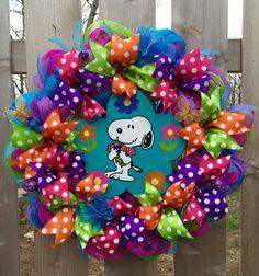 Snoopy wreath spring wreath summer front door by WandNDesigns