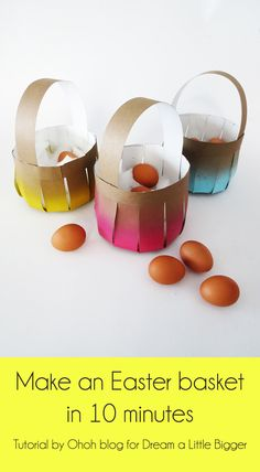 How to make an Easter basket in 10 minutes - this tutorial uses thin cardboard, but poster board could be great, too Paper Basket Diy, Paper Basket Weaving, Basket Crafts, Crafts For Kids To Make, Easter Crafts For Kids, How To Make Paper, Chocolates, May Day Baskets, Easter Egg Basket