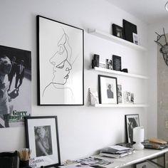北欧装饰画简约客厅现代挂画设计师创意办公室壁画 线条艺术人物-淘宝网