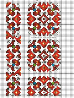 This Pin was discovered by Ell Mini Cross Stitch, Cross Stitch Borders, Cross Stitch Designs, Cross Stitching, Cross Stitch Patterns, Crochet Borders, Hand Embroidery Flowers, Folk Embroidery, Cross Stitch Embroidery