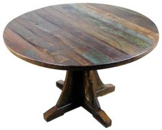 Mexicali Rustic Wood Round Dining Table