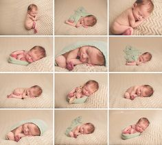 beige blanket with mint cheesecloth wrap beachy newborn photos neutral newborn  taco pose