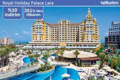 Aquaparklı Havuzu ve 0-9 yaş arası ücretsiz imkanlarıyla Royal Holiday Palace Lara'da 261 TL'den başlayan fiyatlarla konaklayabilirsiniz.