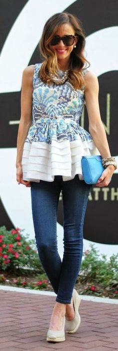 Anthropologie White and blue Printed Sleeveless Peplum Top by Sequins & Things