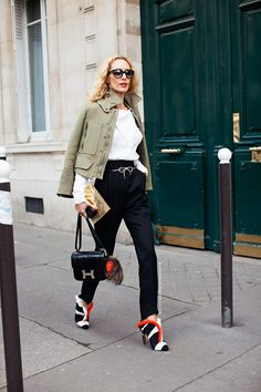 #ElinaHalimi looking fab with those Fendi shoes. Paris.