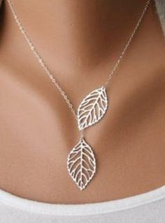 So Delicate and Pretty! Great Gift Idea! Love the Leaf Design! Stylish Women's Openwork Silver Leaf Pendant Necklace
