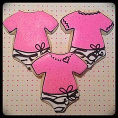Baby zebra onesie cookies