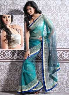 Turquoise Glass Tissue Saree