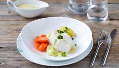 Skrei med sandefjordsmør, Fotograf: Sentralen Eggs, Breakfast, Liv, Food, Morning Coffee, Essen, Egg, Meals, Yemek