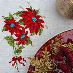 Beautiful Christmas flowers and greenery are festive ways to stitch for the holidays. Try them on a wide variety of embroidery projects! Hoop size: 130x180 mm ≈5.1 x 7 inches Formats: .pes, .pec, .hus, .vip, .dst, .exp, .sew, .dat, .vp3, sew You may use the file for personal or commercial use. Please dont sell or trade the embroidery file. PLEASE NOTE: It is a digital file used for machine embroidery. You must have an embroidery machine and knows how to transfer to your machine. *This it...