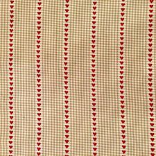 Neutral Gingham Check Red Woven Heart Fabric Cut Per Metre