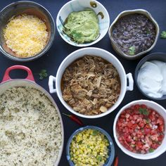 "Beer Braised Carnitas, cilantro lime rice, and more for ""Chipotle"" inspired burrito (bowl) fixins."