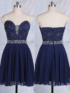 New Arrival Sweetheart Dark Navy Chiffon Tulle Applique Lace Short/Mini Homecoming Dress - dressesofgirl.com