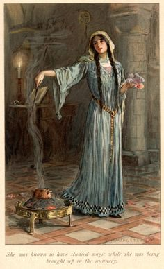 """She was known to have studied magic while she was being brought up in the nunnery..."" (Morgan le Fay) Artwork by W. H. Margetson. From: Legends of King Arthur and His Knights (P.104) - 1914"