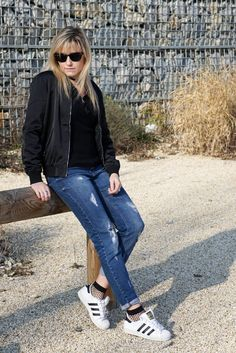 #look #resille #bomber #jennyfer #wearejennyfer #adidas #superstar #casualoutfit #socks