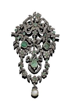 A 19th century emerald, pearl and diamond brooch