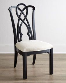 Two Marcella Black Splat-Back Side Chairs