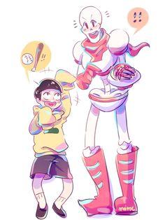 Jyushimatsu and Papyrus ||| Osomatsu-san + Undertale Crossover Fan Art by matocc on Tumblr