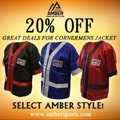 These Amber Cornermens Jacket are professionally tailored for a great fit. It includes pockets for keeping supplies. Use this coupon code [50bd4f95] and get 20% Off on all boxing gear at ambersports.com