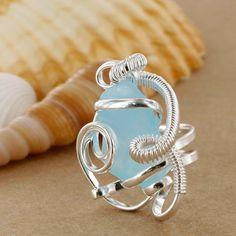 Sadie Green's Ice Blue Sea Glass Ring