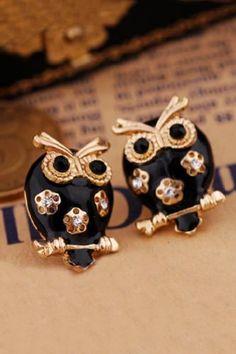 Black Owl Hollow Flower Earrings on Luulla