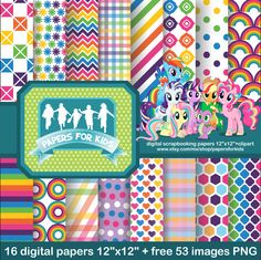 Digital Papers My Little Pony Birthday Background Clipart Girls Invitation PapersforKids 3.00 USD