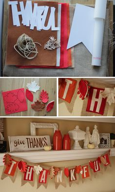 DIY Thanksgiving Banner, Easy to do and beautiful to display! Fun Home Decor project, full tutorial. HandmadeintheHeartland.com